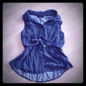 Kaitlyn Polka Dot Short Sleeve Blouse with Bow Tie